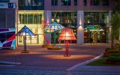Oversized versions of five classic lamps illuminate a Manchester square