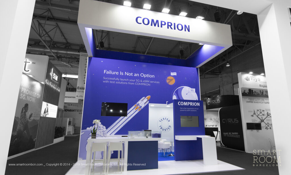 Stand for Comprion at MWC by Smart Room Barcelona